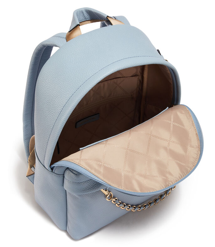 Bolso backpack en piel, AZUL, large