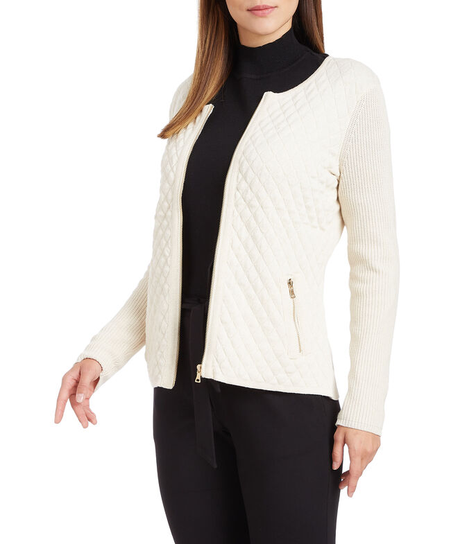 Suéter con cierre Mujer, BEIGE, large