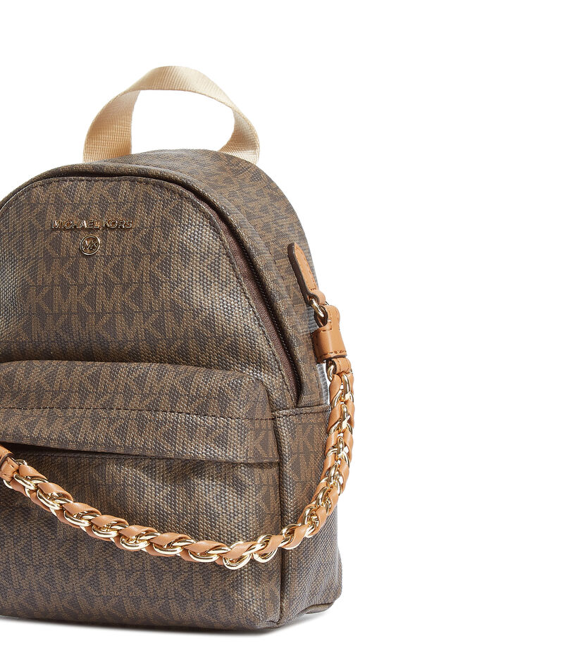 Bolso backpack con detalle monogram, CAFE CON OTRO COLOR, editorial