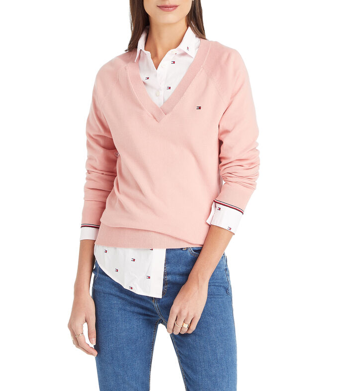 "Tommy Hilfiger Suéter cuello ""V"" Mujer, ROSA CLARO, large"
