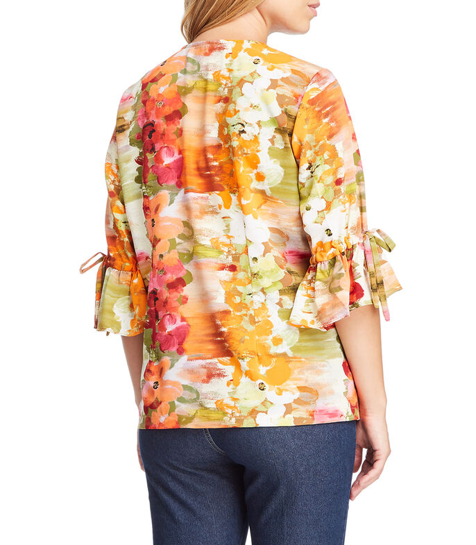 Blusa floral manga 3/4 Mujer, MULTICOLOR, large