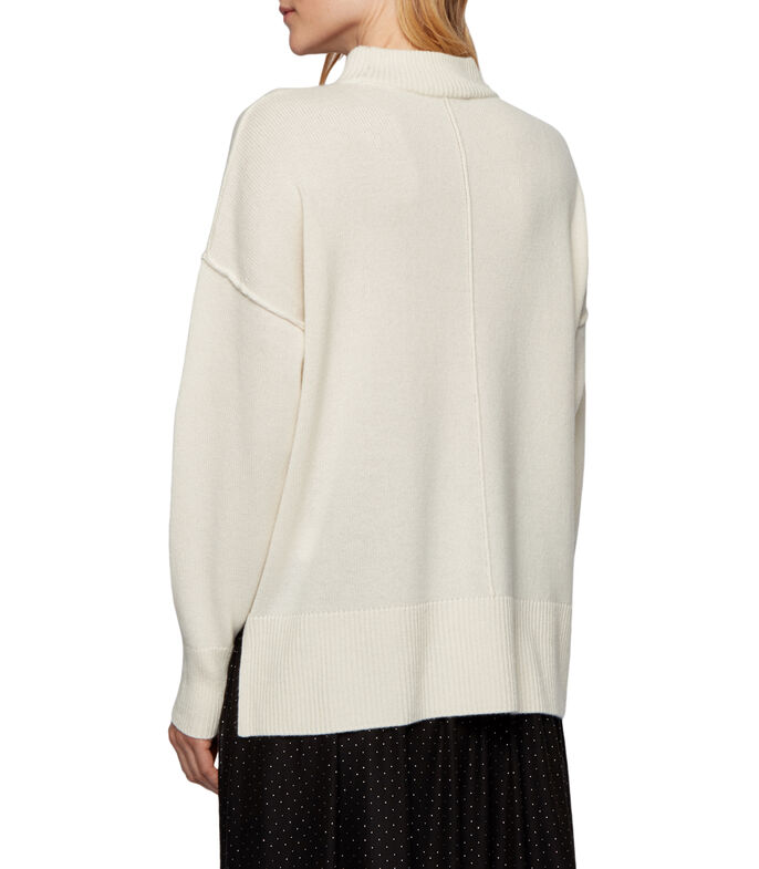 Boss Suéter relaxed fit de puro cashmere con cuello medio Mujer, BLANCO, large