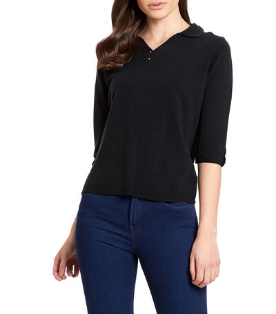 Suéter cuello polo Mujer, , large