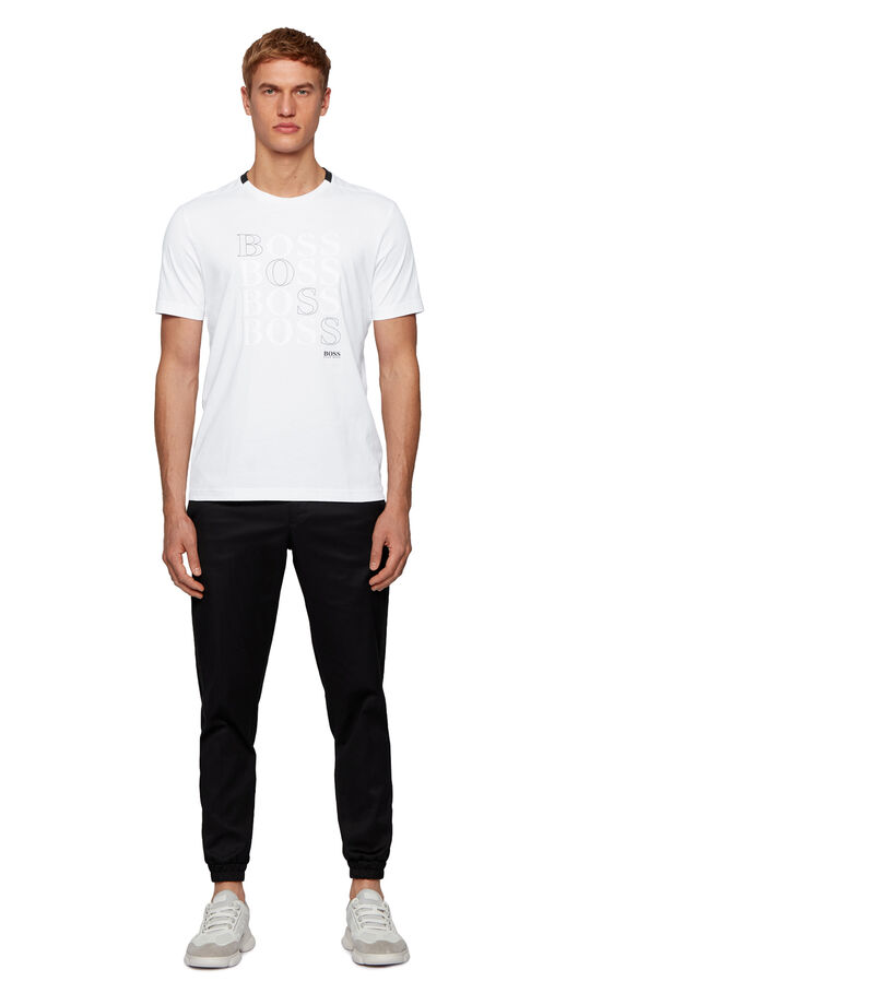 Boss Playera Regular con logo en punto sencillo Bionic Hombre, BLANCO, editorial