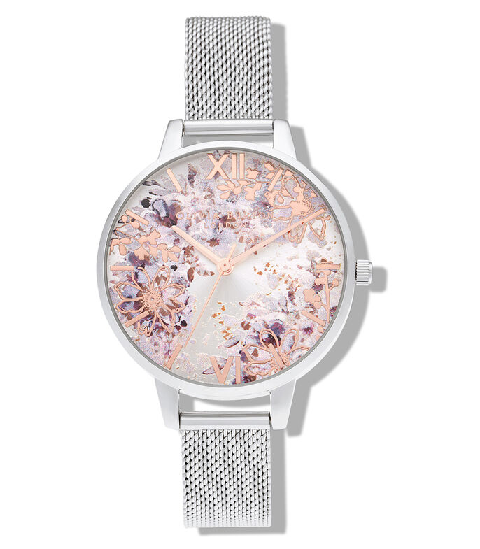 Reloj Abstract Florals Plata Mujer, , large