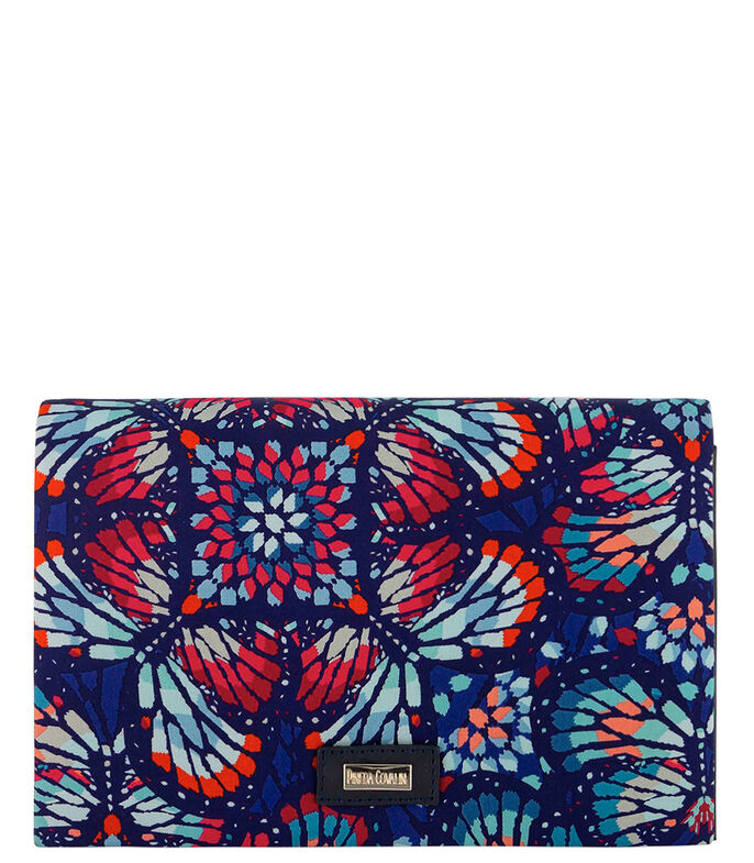 Bolso clutch de piel con estampado multicolor, , large