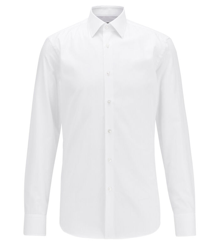 Camisa slim fit en algodón Oxford con estampado dobby Hombre, BLANCO, large