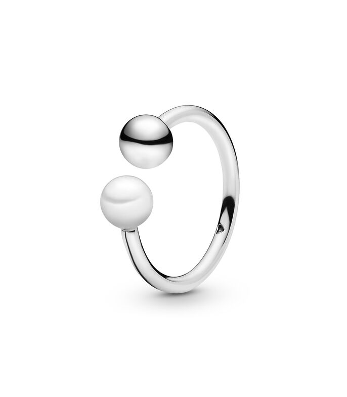 Anillo en plata Bead and Freshwater Cultured Pearl Open Unisex, , large