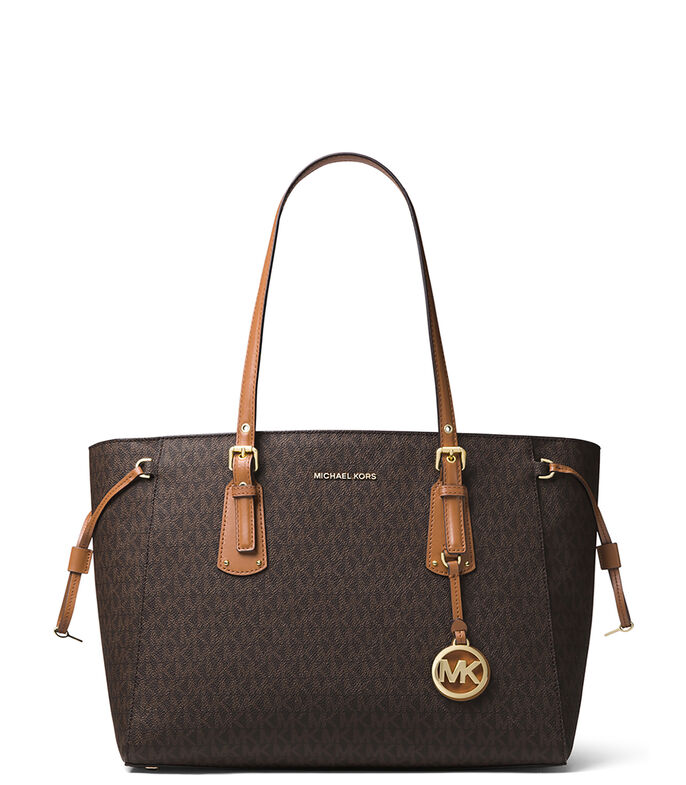 Bolso tote con monogram, CAFE, large