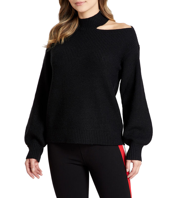 Suéter cuello redondo Mujer, NEGRO, large