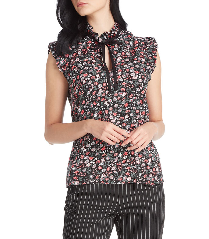 Tattoo Blusa floral sin mangas Mujer, NEGRO, large