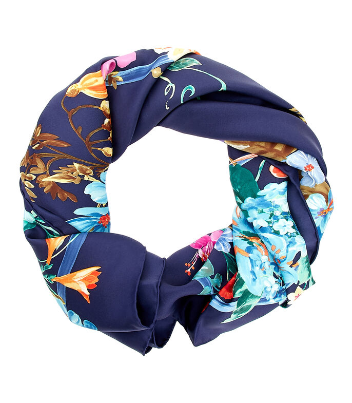 Foulard azul con flores Mujer, , large