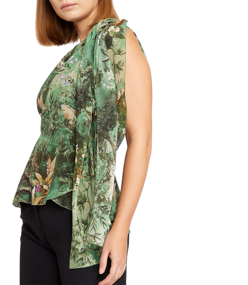 Blusa floral sin mangas Mujer, MULTICOLOR, editorial