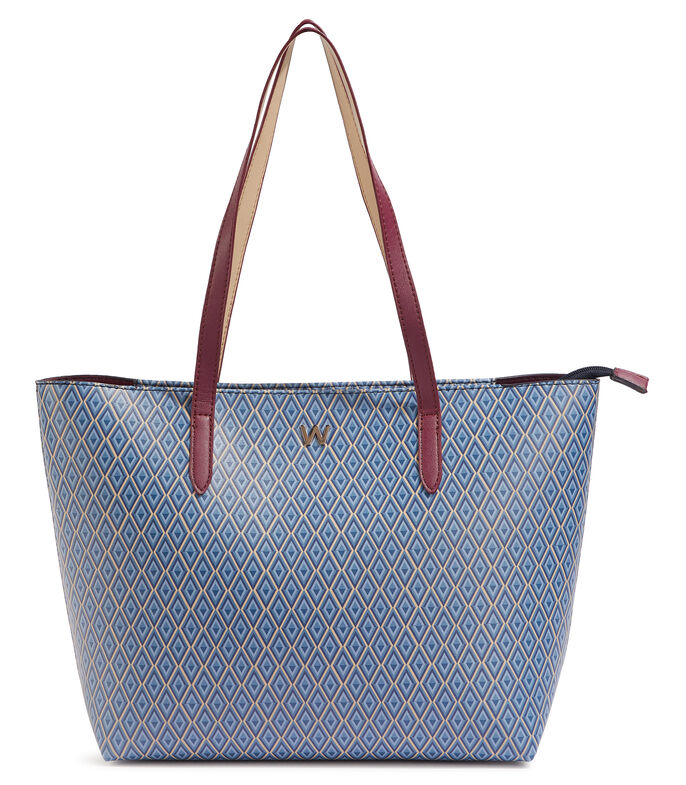 Bolso tote con rombos, AZUL, large