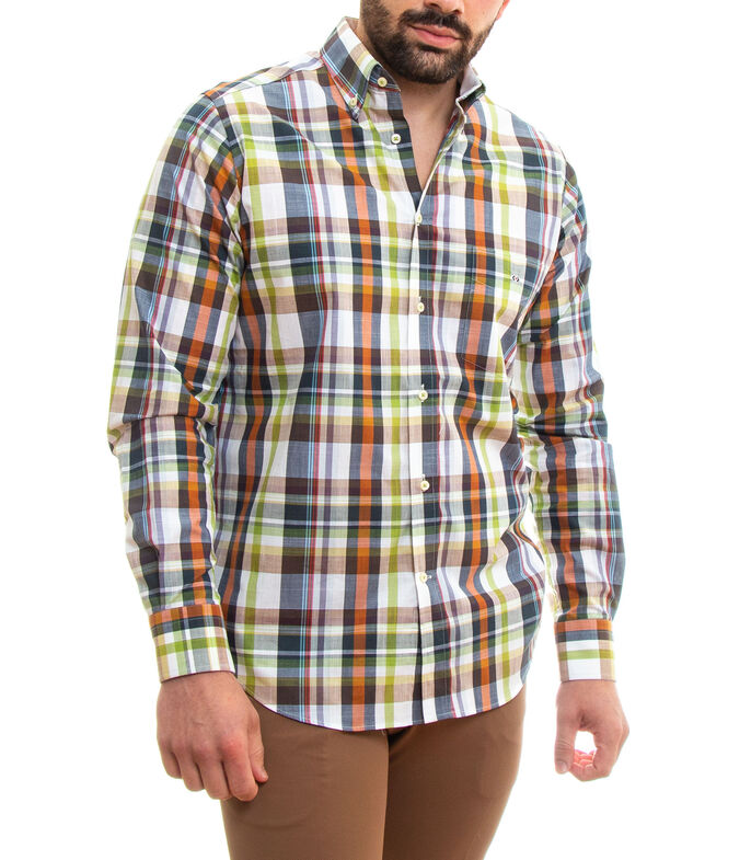 Pol Cotton Camisa con cuadros manga larga Hombre, CAFE, large
