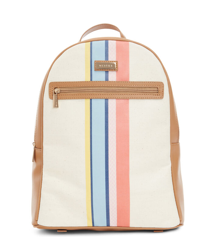 Bolso backpack Ballymena con franjas, MARFIL, large