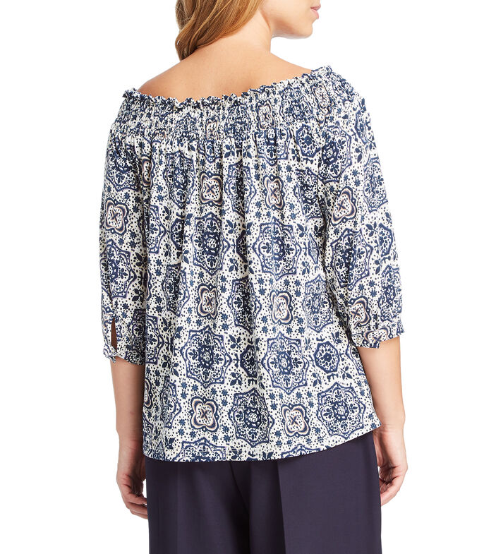 Expecting Essentials Blusa con mosaicos manga 3/4 Mujer, MULTICOLOR, large