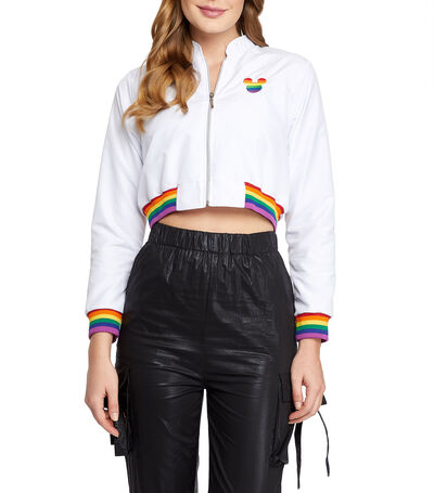 Chamarra Pride crop top Mujer, , large