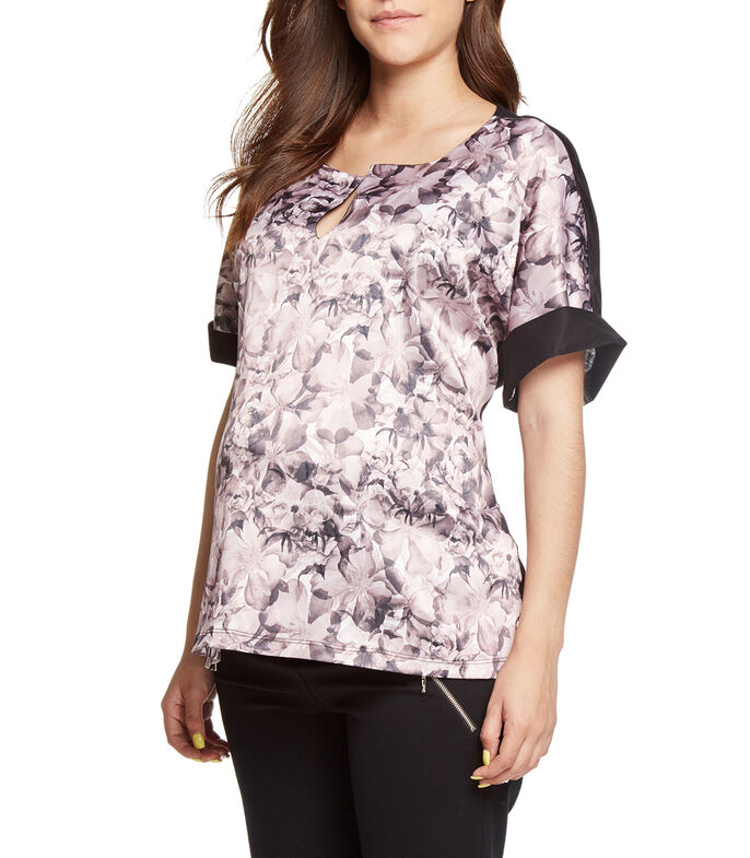 Expecting Essentials Blusa floral manga corta Mujer, MULTICOLOR, large