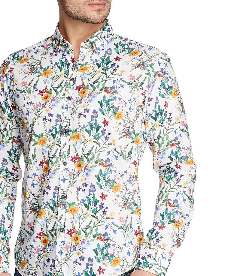 Camisa con flores manga larga Hombre, MULTICOLOR, editorial