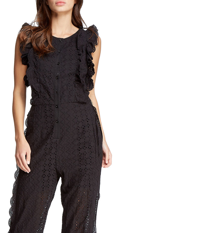 Jumpsuit corte recto Mujer, NEGRO, editorial
