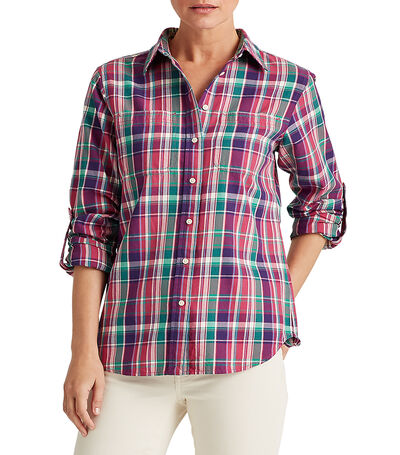 Camisa con cuadros Mujer, , large