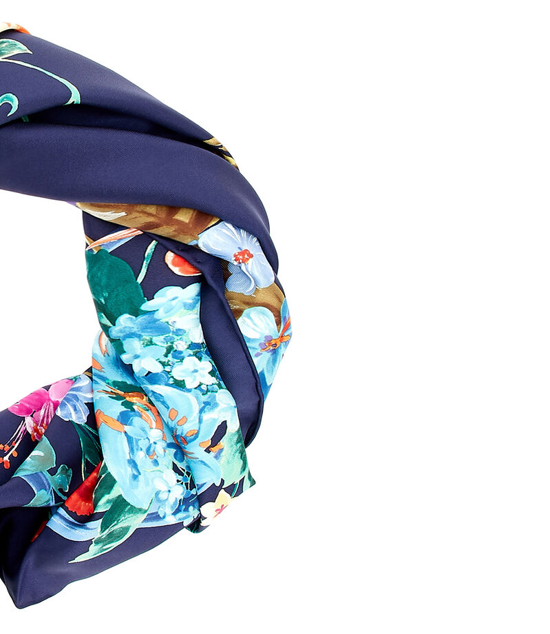 Foulard azul con flores Mujer, , editorial