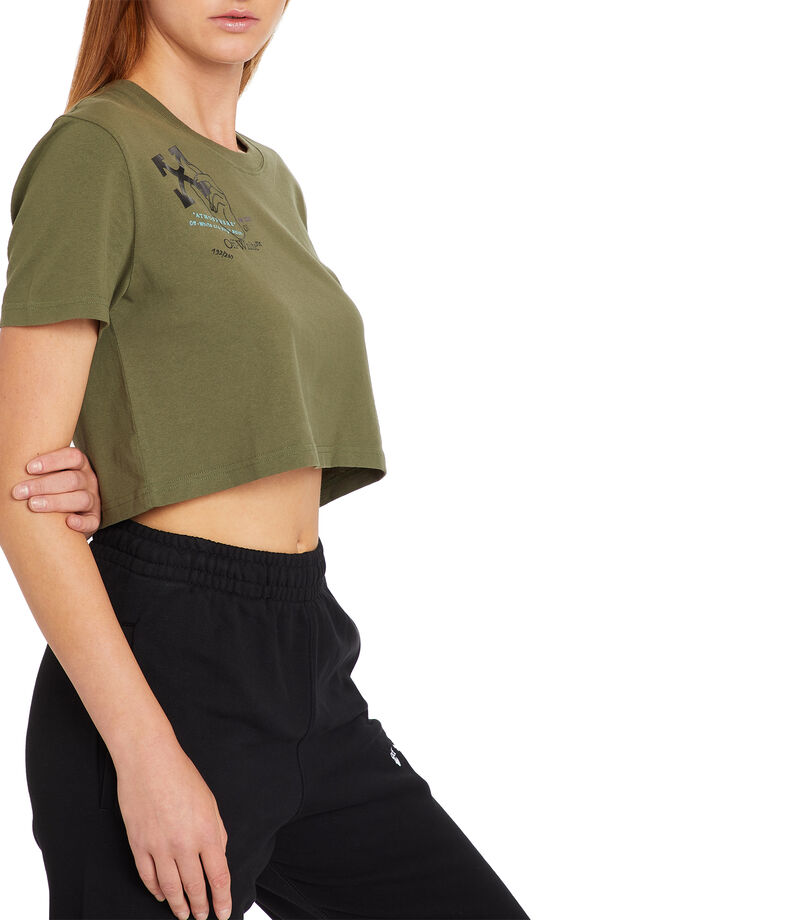 Playera top crop manga corta Mujer, MULTICOLOR, editorial