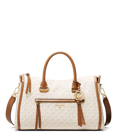 Bolso satchel con monogram, , large