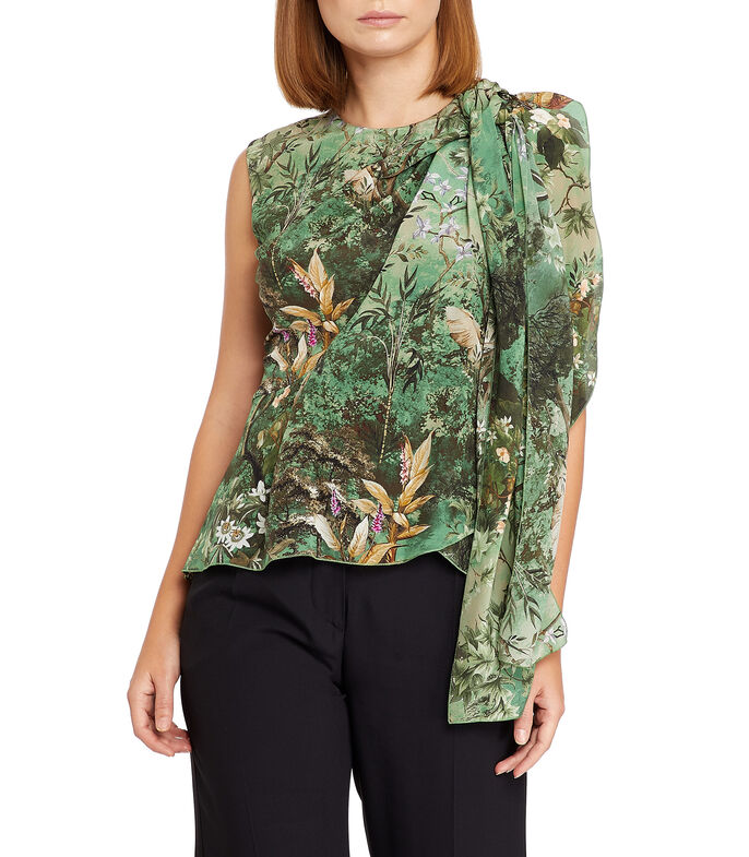 Blusa floral sin mangas Mujer, MULTICOLOR, large