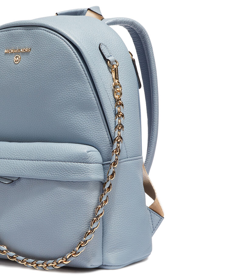 Bolso backpack en piel, AZUL, editorial