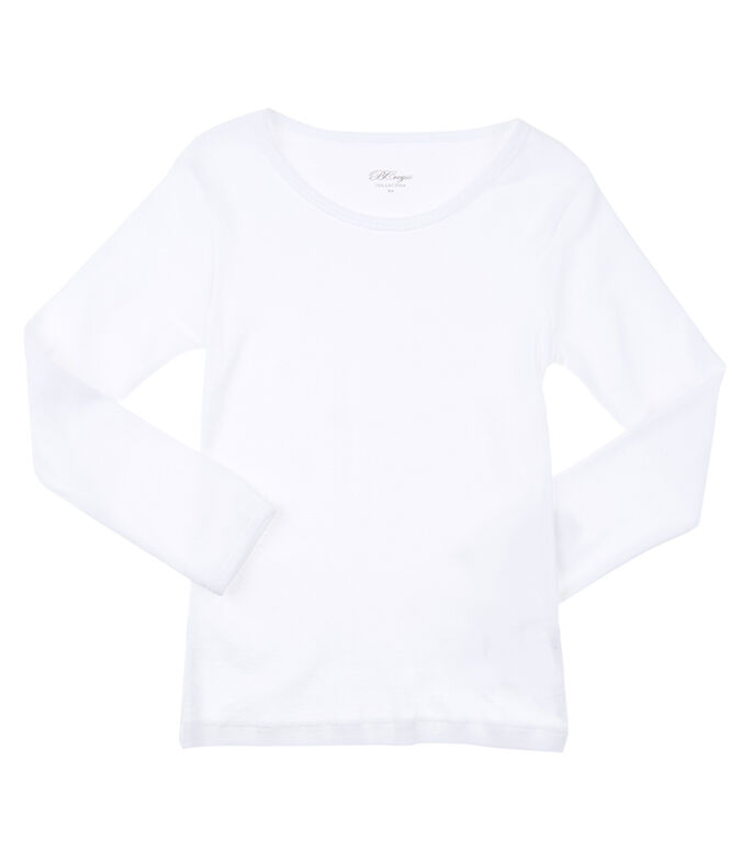 Playera manga larga Niña, BLANCO, large