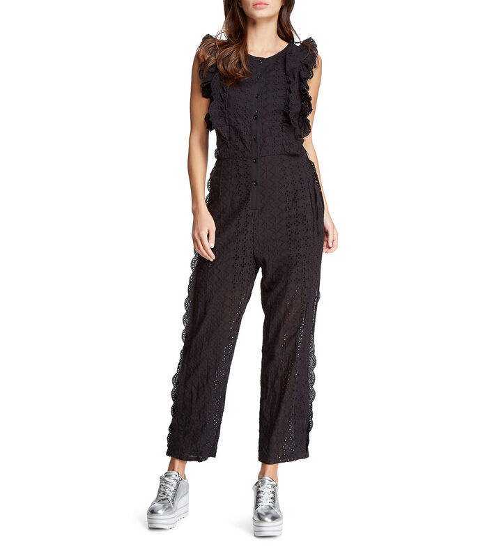 Jumpsuit corte recto Mujer, NEGRO, large